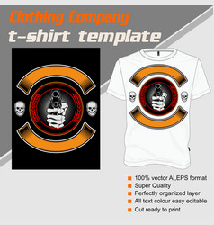 T shirt template hand handling gunisolated and vector