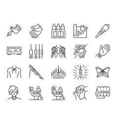 Tattoo line icon set vector
