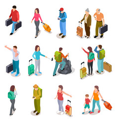 Travel people isometric set men women and kids vector