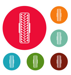 Tread pattern icons circle set vector