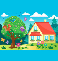 tree with animals near house vector image