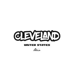 United states cleveland ohio city graffitti font vector