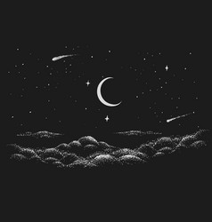 View to night sky vector