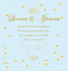 vintage gold letter wedding card vector image