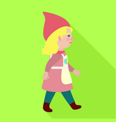 walking woman gnome icon flat style vector image