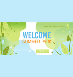 Welcoming to summer park landing page template vector