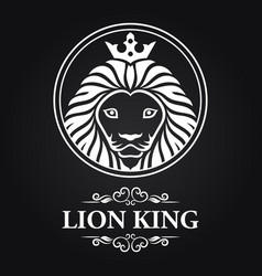 white lion king head mascot on black background vector image