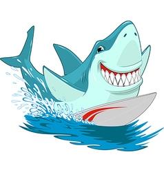 White shark surfer vector