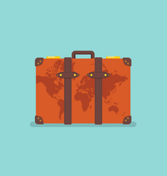 world map over vintage suitcase vector image