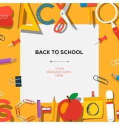 Back to school season sale template with schools vector image vector image