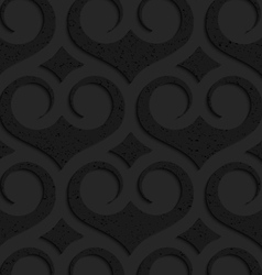 Black textured plastic swirly slim hearts with vector image vector image