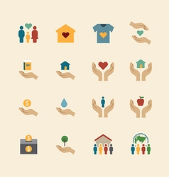 charity and donation silhouette colour icons vector image vector image