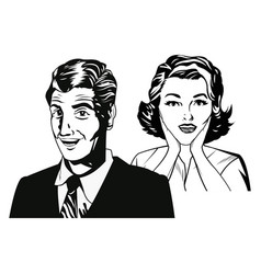 couple expression together black and white vector image vector image