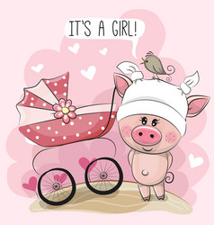 Greeting card it is a girl with baby carriage and vector