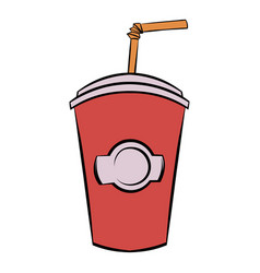 red cardboard cup with a straw icon cartoon vector image