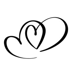 two lovers heart handmade calligraphy vector image vector image