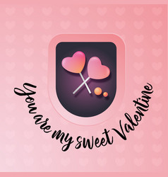 valentines day greeting card heart from candy vector image vector image