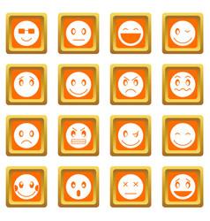 emoticon icons set orange vector image vector image
