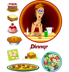 evening meal vector image