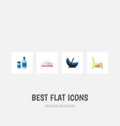 Flat icon infant set of pram toilet cream with vector