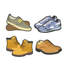 men shoes winter or summer sport boots types vector image