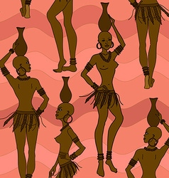 Seamless pattern of African seminude girls vector image