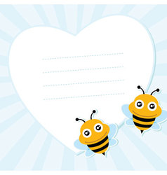 Two flying bees and heart shape vector image