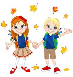 Boy and girl ready to school vector image vector image