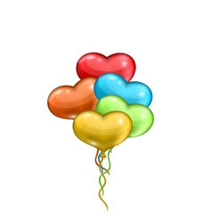 bunch colorful balloons in the shape of hearts vector image