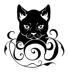 cat face decoration vector image vector image