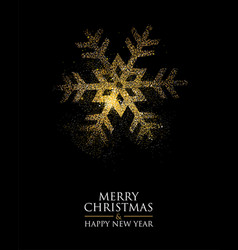 Christmas and new year gold glitter snowflake card vector
