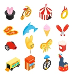 Circus isometric 3d icons set vector