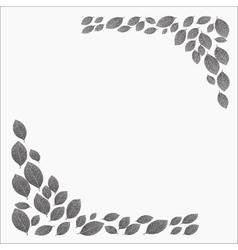 Frame for a card dotwork stipple gray leaves vector image