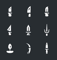 set of knives icons vector image