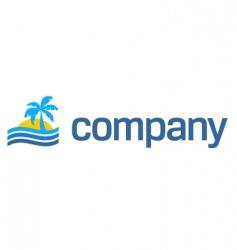 tropical beach travel logo vector image vector image