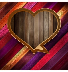 Colorful wooden heart on wood EPS 10 vector image vector image