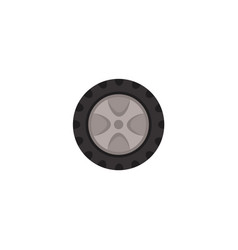 flat car wheel with tire isolated icon vector image vector image