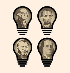 four idea light bulbs that are us presidents vector image vector image