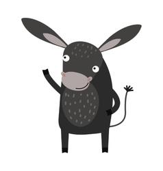Funny cartoon gray donkey farm animal character vector image