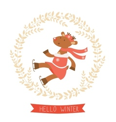 Hello winter card with funny deer girl ice skating vector image