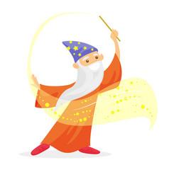magician with long white beard waving magic wand vector image