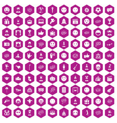 100 emotion icons hexagon violet vector image