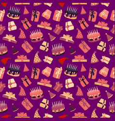 a seamless pattern a colorful cartoon birthday vector image