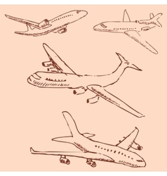 Aircraft pencil sketch by hand vintage colors vector