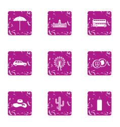 Anglican icons set grunge style vector