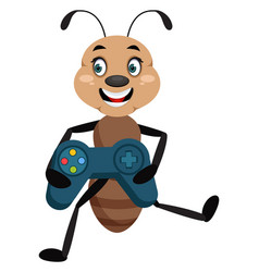 ant with gamepad on white background vector image