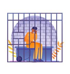 Arrested man sitting behind bars concept vector