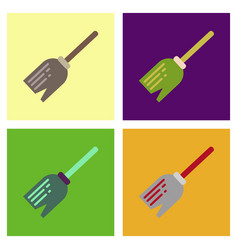 Assembly flat icons halloween witch broom vector