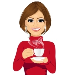 Attractive young woman drinking coffee vector