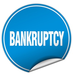 Bankruptcy round blue sticker isolated on white vector